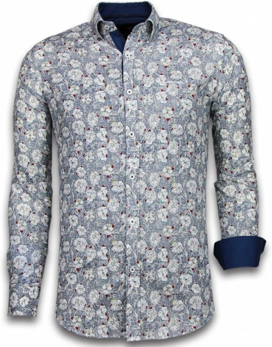 Gentile Bellini Italiaanse Overhemden - Slim Fit Overhemd - Blouse Drawn Flower Pattern - Blauw - Maten: XXL