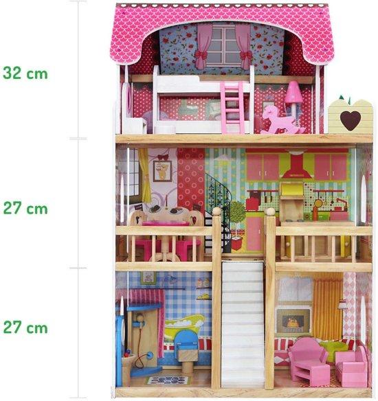 Houten poppenhuis inclusief meubeltjes