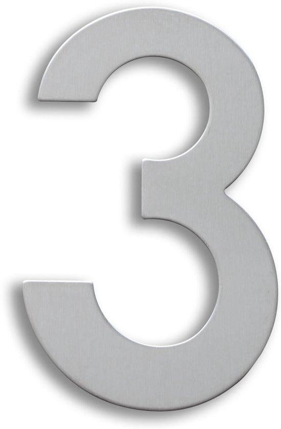 RVS Huisnummer 15cm Nummer 3