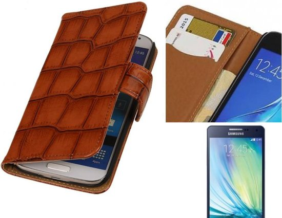 MP Case Glans Croco Bookstyle Hoes voor Galaxy A5 Bruin in Smallebrugge / Smelbrêge