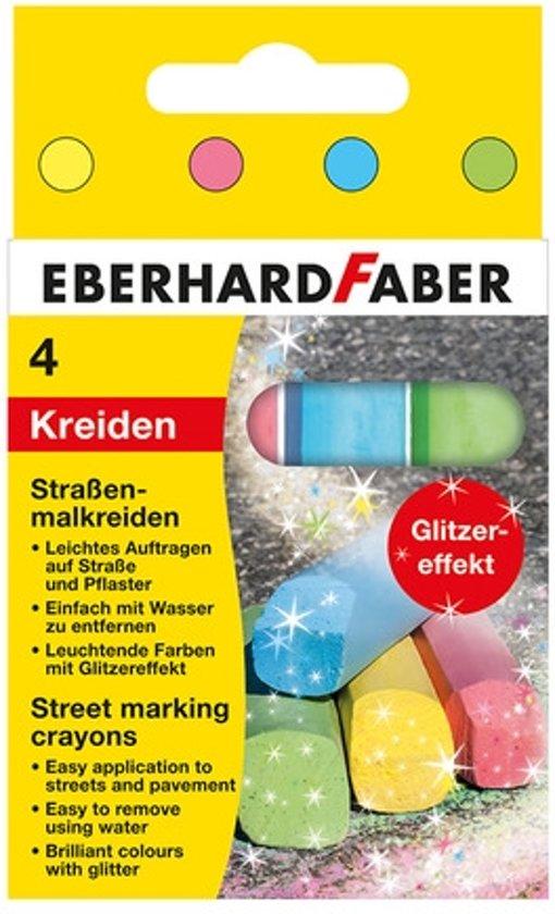 Stoepkrijt Eberhard Faber 4-kantig 4 glitterkleuren