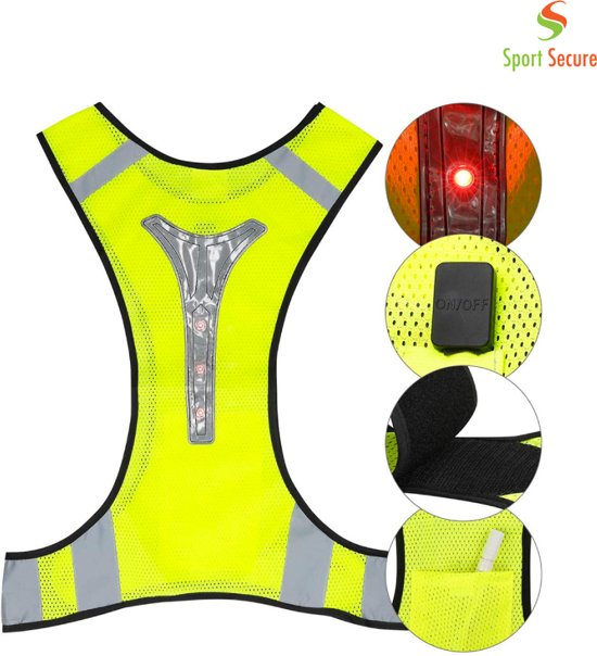 LED sport vest | Hardlopen | Reflecterend vest | Verlichting zorgt voor zichtbaarheid | Verstelbaar en flexibel