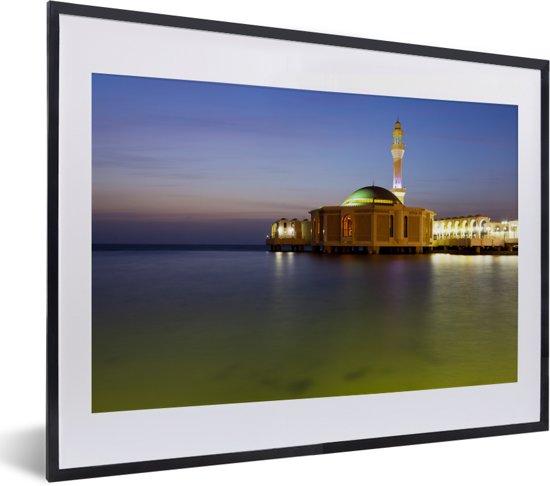Foto in lijst - De drijvende moskee in Jeddah fotolijst zwart met witte passe-partout klein 40x30 cm - Poster in lijst (Wanddecoratie woonkamer / slaapkamer)
