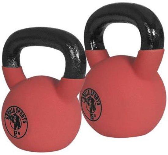kettlebells globos\u0027 giftfindergorilla sports voordeelset kettlebells 12 en 16 kg (rubber coating )