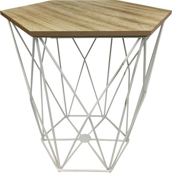 Bijzettafel Mand Met Deksel.Bol Com Housevitamin Happy Home Furniture Metalen Bijzettafel