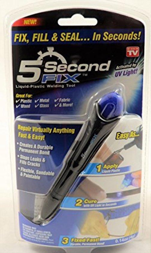 5 Second Fix Het is een speciale formule van vloeibare kunststof die hard wordt na bloodstelling aan het bijgeleverde UV licht