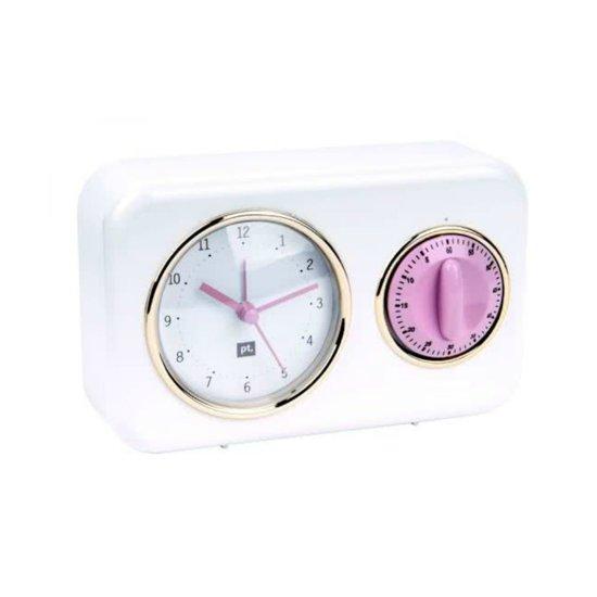 Present Time (Pt,) Tafelklok + Timer Nostalgia - Kookwekker -Plastic - 17x11x6cm - Wit
