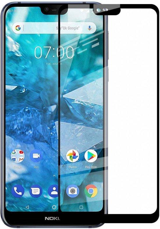 Nokia 8.1  - Full Cover Screenprotector - Zwart