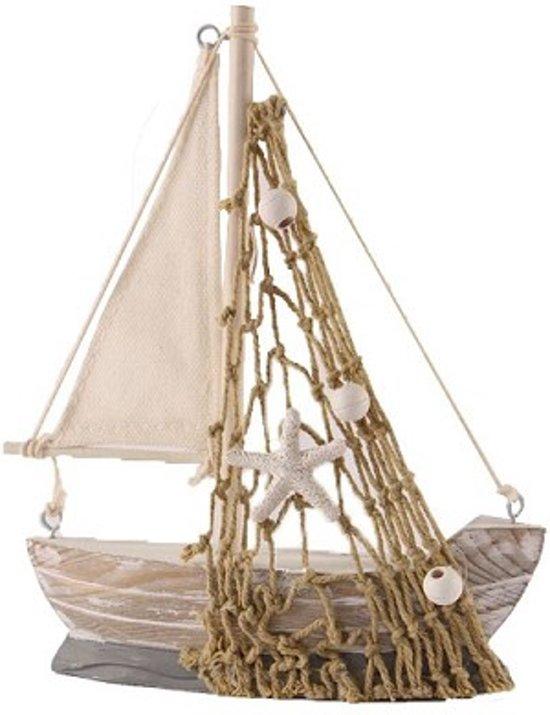 Zeilboot met decoratie grey white 16 x 13 x 3 5 for Decoratie zeilboot