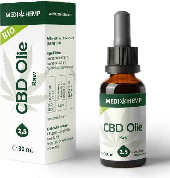 Medihemp CBD olie RAW (2,5%) BIO 30ml