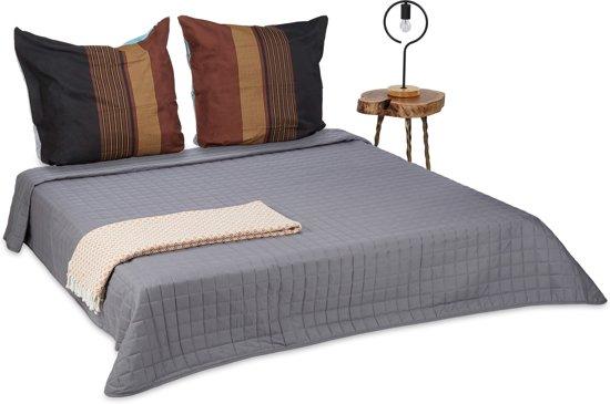relaxdays beddensprei grijs - plaid - deken - sprei - gewatteerd -  polyester - wasbaar 220x240cm 66b610c7fc1
