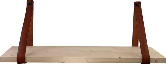 Leren plankdragers met steigerplank 100 cm - 2 leren banden - cognac - wanddecoratie