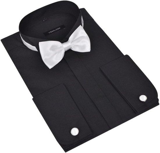 Smoking overhemd heren met manchetknopen en vlinderdas (maat S / zwart / 3-delig)