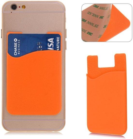 Oranje kaarthouder - Hoesje - Pashouder - Mobiel - Telefoon - voor zowel Apple iPhone als Android Samsung