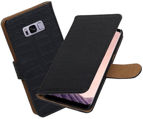 BestCases.nl Samsung Galaxy S8 Krokodil booktype hoesje Zwart in Voeren/Fourons