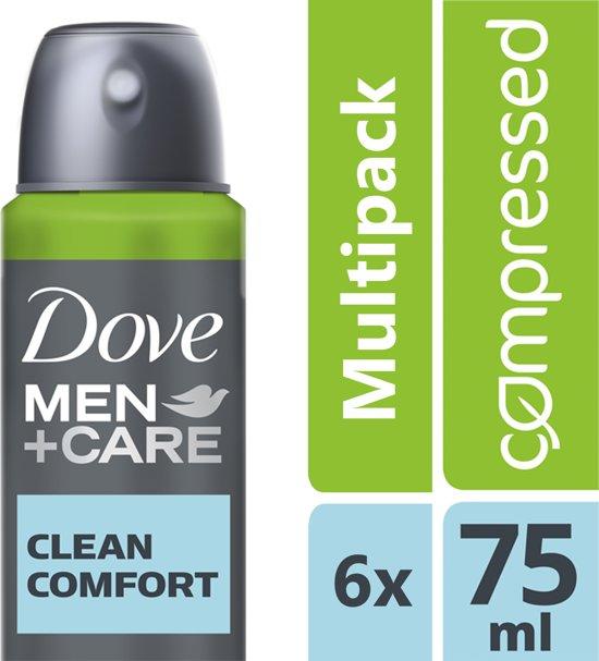 Dove Men+Care Clean Comfort Deodorant - 6 x 75 ml - Voordeelverpakking