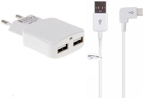 2,1A Lader en oplaadkabel. 1 m Laadkabel snoer en thuislader stekker geschikt voor: Alcatel. o.a. ONE TOUCH Tab 8HD, Pixi, Pixi 3 10inch