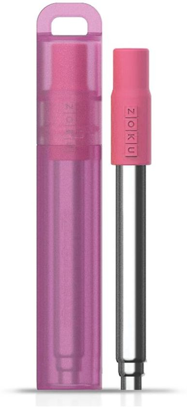 Zoku Pocket Straw Herbruikbaar Rietje - RVS/Polypropyleen/Siliconen - Roze