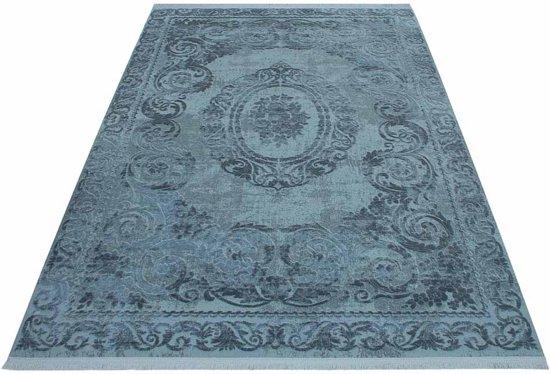 Vloerkleed Klassiek gestreept Taboo marineblauw 80x150cm
