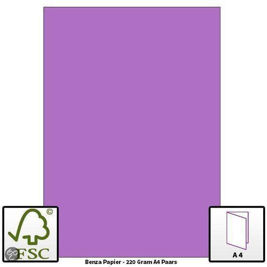 Benza Hobbykarton om zelf wenskaarten te maken 220 Gram - A4 - Paars - 20 stuks