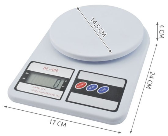 Elektronische Digitale Precisie Keuken Weegschaal - 7 Kilo - Inclusief Batterijen - 1 Gram Nauwkeurig