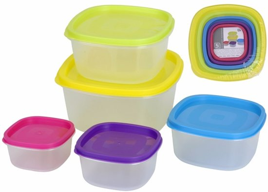 Voorraad bakjes set 5 stuks - vershoudbakjes