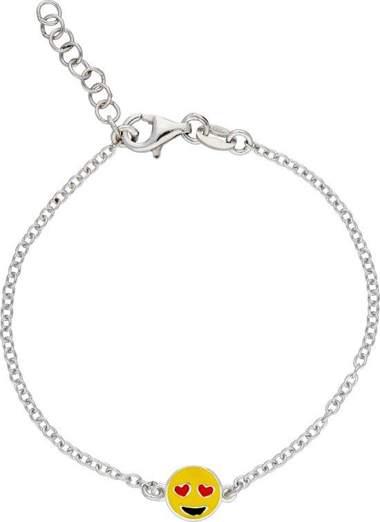 Lilly armband met emoticon - zilver gerodineerd - ankerschakel - kussend hartje - 15 + 2 cm