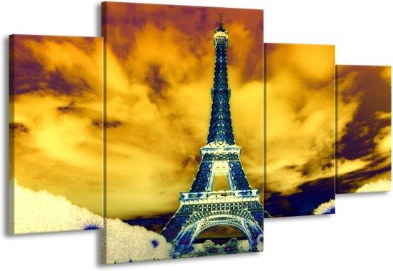 Canvas schilderij Eiffeltoren | Blauw, Geel, Grijs | 160x90cm 4Luik