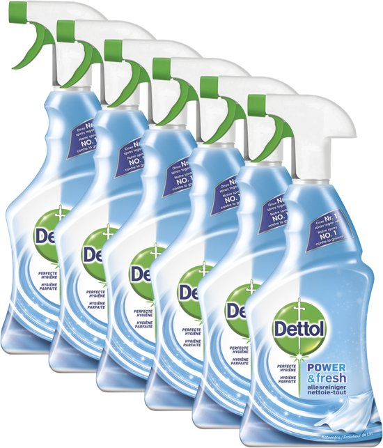 Dettol Power & Fresh - Allesreiniger Spray - Katoenfris - 6 x 500 ml - Grootverpakking