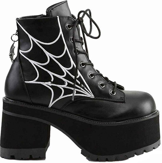 And Ranger Vegan Leathereu 10Demonia Charm 40Us Ankle With Embroidery 105 Spiderweb Black Boot 4AjL5R