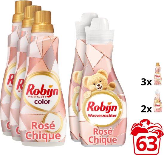 Robijn Rosé Chique wasmiddel en wasverzachter - 5 stuks