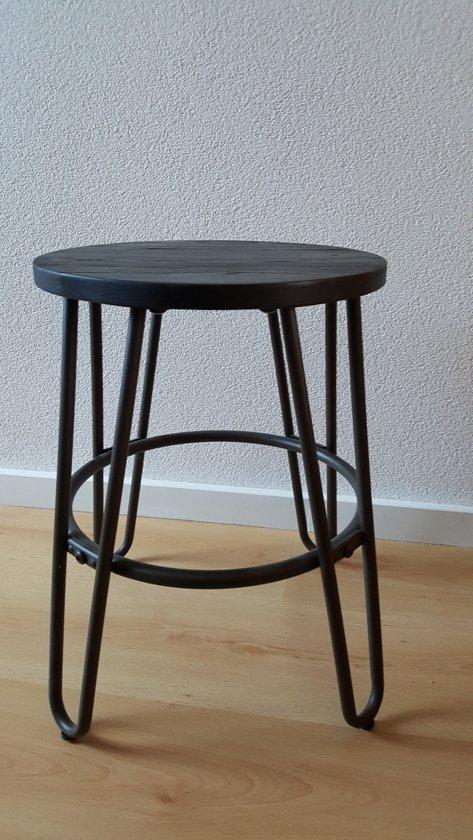 Industriele Draaikruk Zwart.Industriele Kruk Bijzettafel Metaal Hout Matgrijs Zwart Hoogte 45 Cm