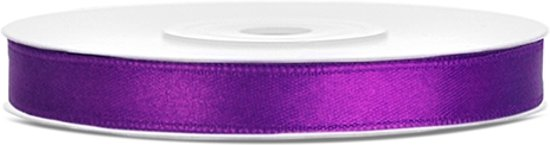 Satijn lint paars 6mm/rol 25m