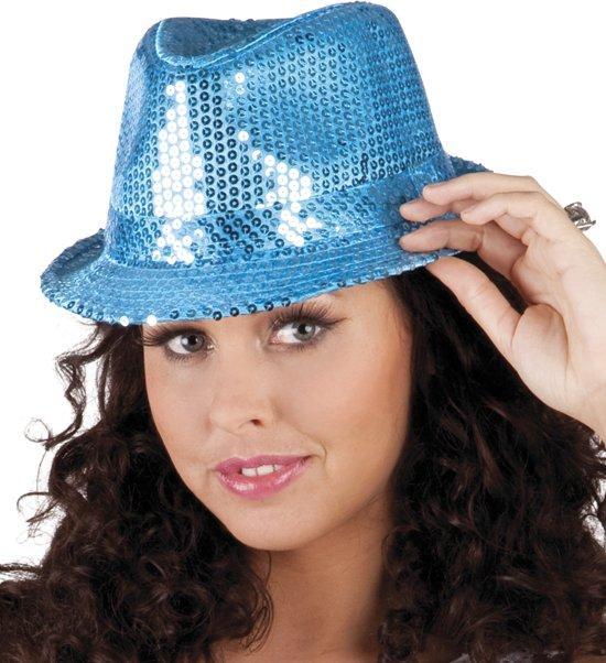 12 stuks: Hoed Popstar Pailletten - blauw