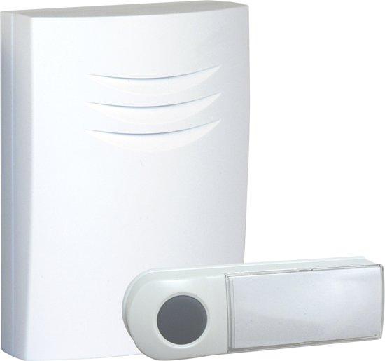 Byron B401E - Draadloze deurbel - 75m - Draagbare deurbel - Beldrukker licht op in het donker - Wit