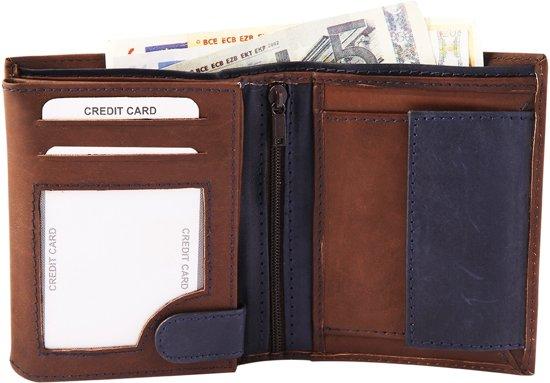 624e385904d bol.com | Akzent portemonnee - heren - Billfold staand - bruin-blauw ...