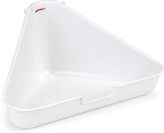 Beeztees Hoektoilet Voor Knaagdieren - Graniet - 35 x 20 x 17 cm - Wit