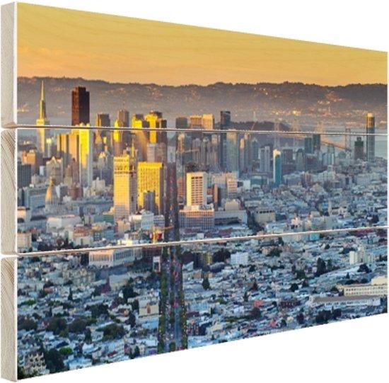 FotoCadeau.nl - San Francisco in ochtendlicht Hout 30x20 cm - Foto print op Hout (Wanddecoratie)