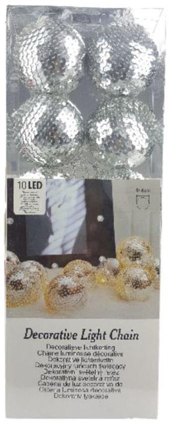 Decoratieve lichtslinger met pailletten - Zilver - 10 led lampen - Ø 6cm