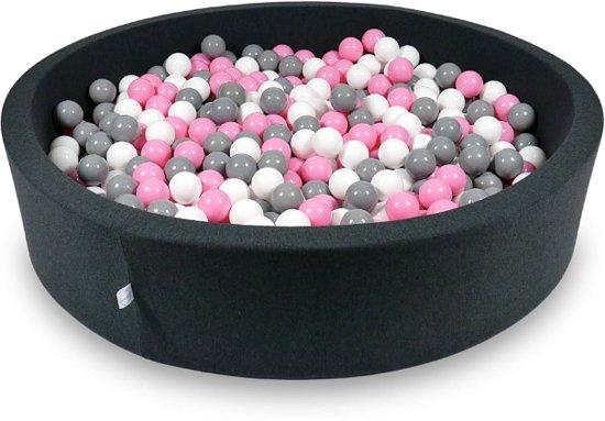Ballenbak - 600 ballen - 130 x 30 cm - ballenbad - rond zwart