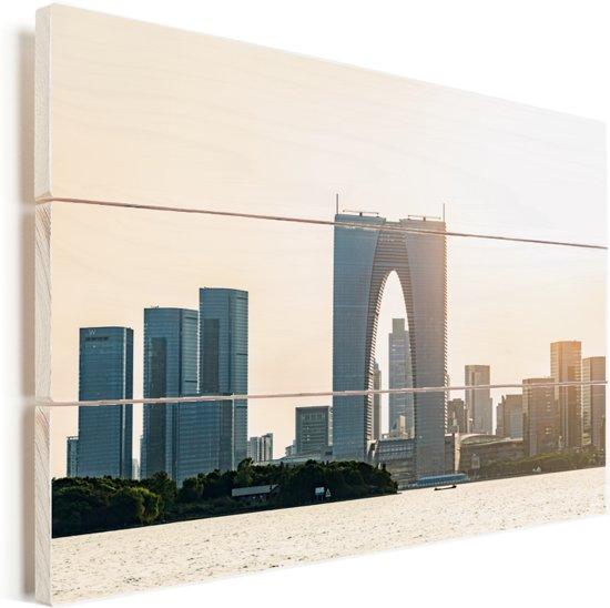 Jinji meer van Suzhou in China Vurenhout met planken 60x40 cm - Foto print op Hout (Wanddecoratie)