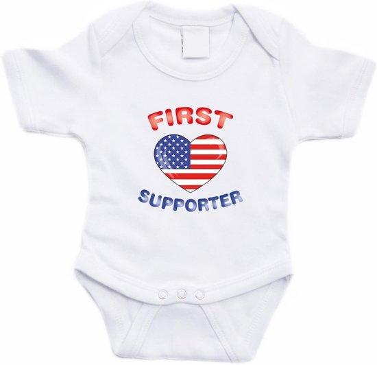 Wit First Amerika supporter rompertje baby - Babykleding 56 (1-2 maanden)