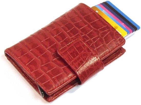 9606a2b9b67 Lederen- Creditcardhouder -pasjeshouder- Cardprotector- Met Extra Vak Voor  Kleingeld- Pasjeshouder -Figuretta-RFID-croco-rood