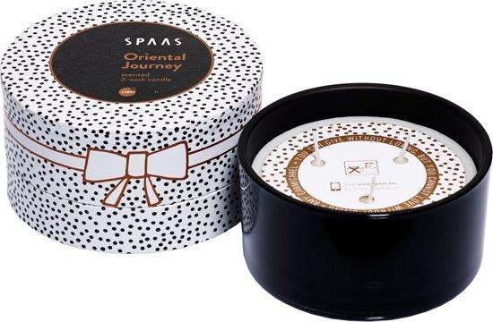 SPAAS Geurkaars 3-wiek glas zwart Gift box Oriental Journey