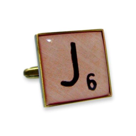 Manchetknoop (1 stuk) Scrabble Letter J