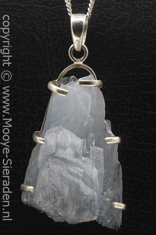 Zilveren Mosagaat edelsteen ketting hanger