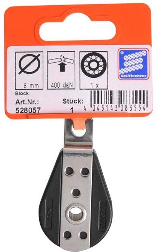 1 schijfs dek blok voor 8mm koord, gesloten met kogellager, 750 daN