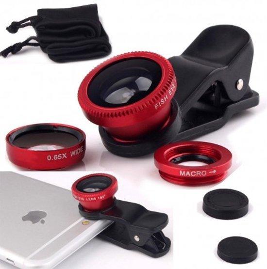 Clip Lens 3-in-1 Fish Eye 180° Lens - Rood