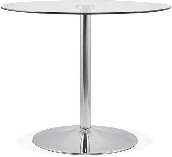 Ronde Eettafel Glas.24designs Ronde Eettafel Owen O90x74 Glazen Tafelblad Chromen Onderstel