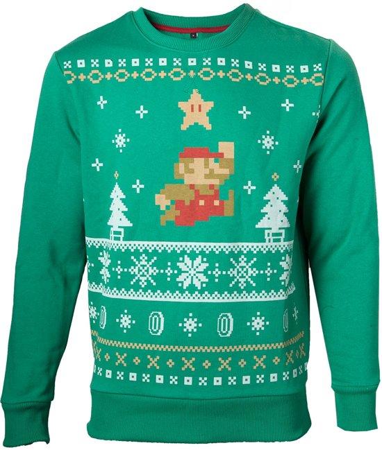 Kersttrui Met Licht.Een Speelgoedip Nintendo Sweater Jumping Mario Christmas L